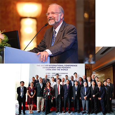 Finn Tarp speaking and a group picture from the IPP Internation Conference.
