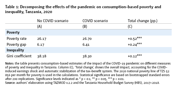 Table 1: Decomposing the effects of the pandemic on consumption-based poverty and inequality, Tanzania, 2020