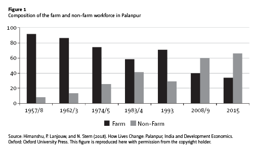 Figure 1: Composition of the farm and non-farm workforce in Palanpur. Source: This figure is reproduced here with permission from the copyright holder.