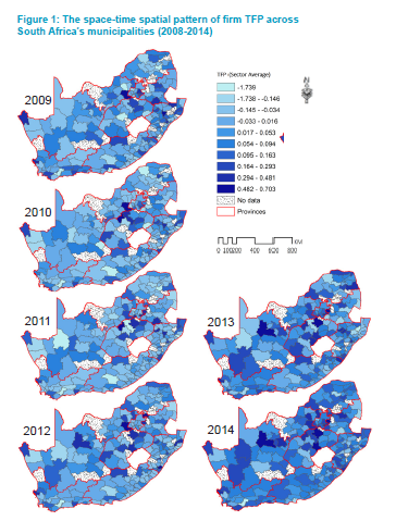 Figure 1: The space-time spatial pattern of firm TFP across South Africa's municipalities (2008-2014)
