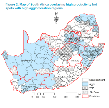 Figure 2: Map of South Africa overlaying high productivity hot spots with high agglomeration regions