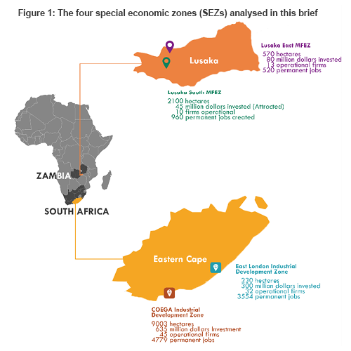 Figure 1: The four special economic zones (SEZs) analysed in this brief