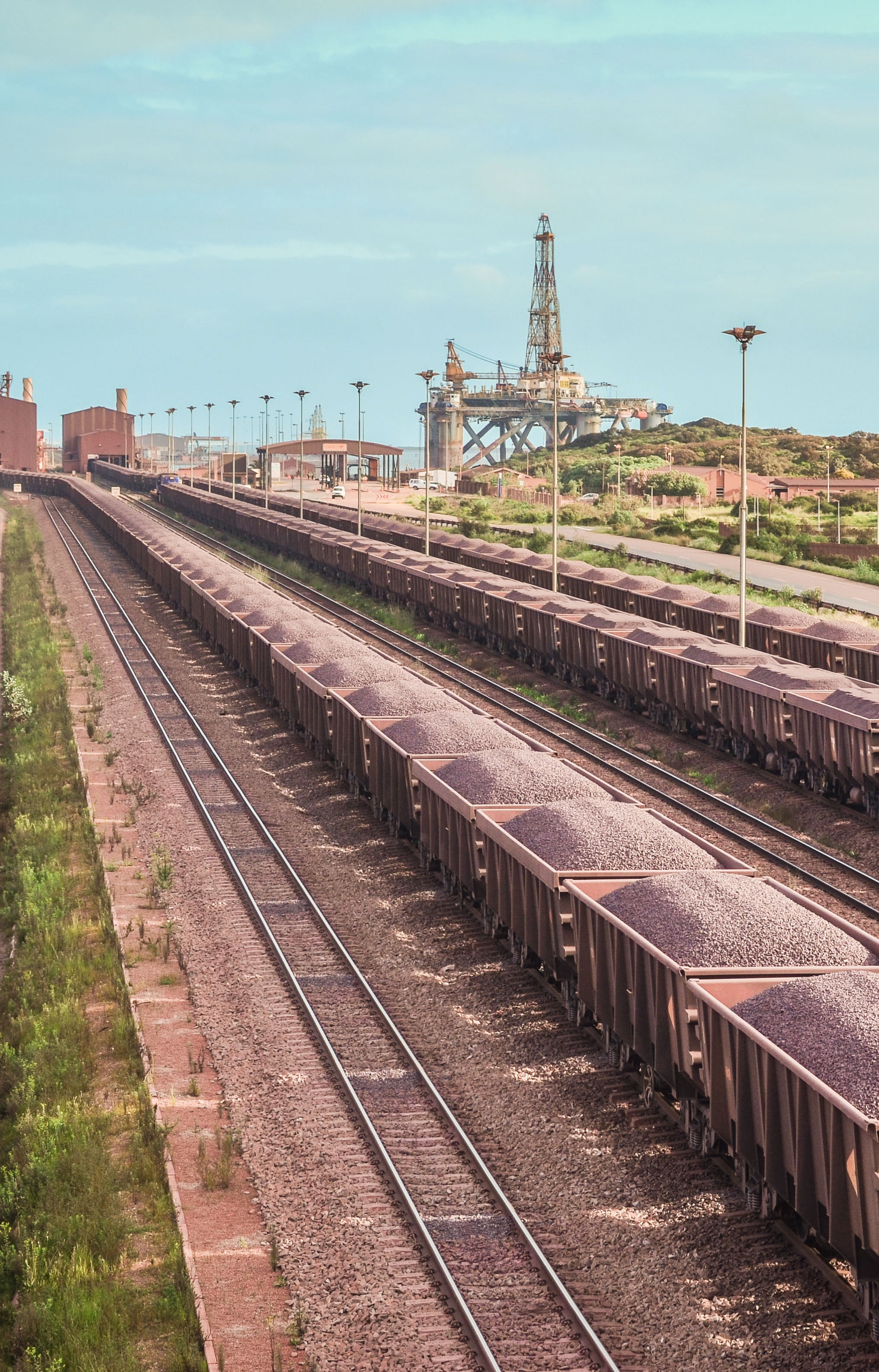 Iron ore loaded trains, Saldanha terminal, South Africa. © jbdodane
