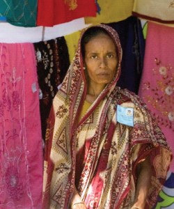 A woman entrepreneur, supported by a Grameen Bank microloan, selling fabrics in Bogra, Bangladesh. Source: UN Photo; Mark Garten.