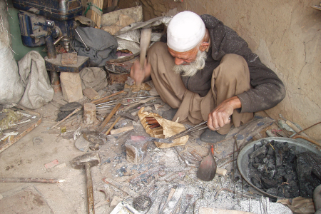 The tenacity of entrepreneurship: An ironmonger in Kabul. Despite decades of conflict entrepreneurial activity  persists in Afghanistan. Source: picture taken by the authors for the Afghanistan Public Policy Research Organization (APPRO).